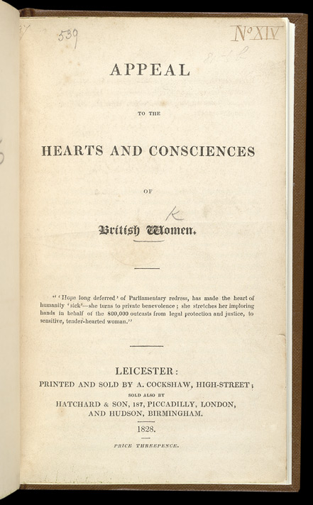 Appeal To The Hearts & Conscience Of British Women -Title page